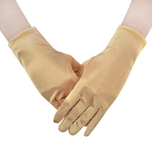 JISEN Women 20s Satin gloves Formal Bridal Banquet Party Wedding Opera Colorful Mitten 9 Inch Gold