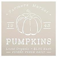 StudioR12 Farmers Market Pumpkins 1943 ステンシル | クラフト DIY 秋 農家 ホームデコレーション | ペイントウッドサイン 再利用可能なマイラーテンプレート | サイズ選択(12インチ x 12インチ)