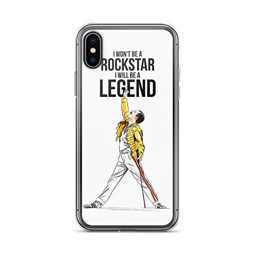 ooppb Compatible con iPhone XS MAX Funda Freddie Mercury Stage Queen Arts Rock Music Protección contra Terremotos Pure Clear Cajas del Teléfono Cover