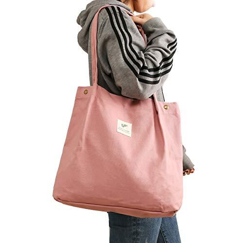 Canvas Tote Bag for Women Girls Washable, Reusable Carry Shoulder Bag With Inner Pocket (Pink)