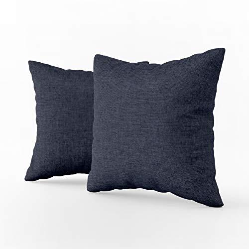 LARA MORADA Coppia 2 Fodere Cuscini arredo Tinta Unita Art Imperial in Tessuto loneta in Cotone con Chiusura a Zip a Scomparsa (Blu, 60 cm x 60 cm)