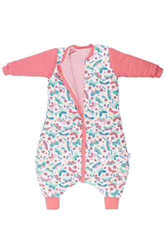Schlummersack Schlafsack mit Füßen - Wendeschlafsack als Ganzjahres-Variante in 2.5 Tog mit abnehmbaren Ärmelnund für Mädchen - Schmetterling - 100 cm