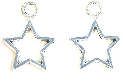 15 creux plaqué argent étoile Charms avec anneaux inclus pour accessoires. Utilisation universelle pour bijoux, carterie et scrapbooking. Découvrez Notre Gamme de perles, breloques et Apprêt (Ref : Jsb10 a58)