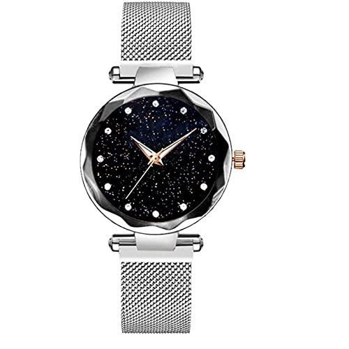 Relojes Reloj De Lujo con Cielo Estrellado, Banda Magnética, Reloj De Pulsera De Cuarzo para Mujer, Relojes De Diamantes, Reloj De Pulsera A La Moda, Reloj De Pulsera para Mujer SL