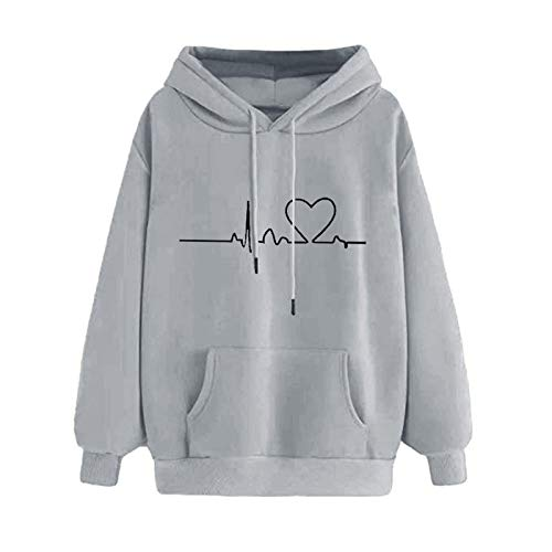 Mllkcao Gifts Ladies Tops for Women Pullover Hoodies Sweatshirt Jumper Long Sleeves Casual Plus Size Tunic  Autumn Winter Valentine's Day Present Gray