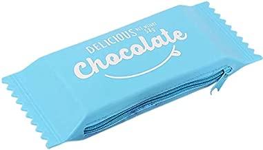 WOVELOT Kawaii Estuches de LáPices Silicona Chocolate Candy Lindos Bolsos de LáPices para úTiles Escolares y de Oficina Azul
