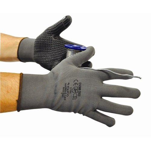 Polyco 801-mat PVC Pois Gripper Gants, une paire, taille 7/Small, gris