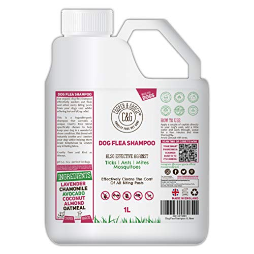 Flea Shampoo For Dogs 1 Litre - Sensitive Itchy Skin Dog and Puppy Grooming - Medicated Fleas Treatment