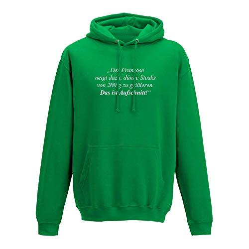 Jimmys Textilfactory Hoodie Das ist Aufschnitt Grillen Spruch Zitat Humor Fun 10 Farben Herren XS-5XL feiern Comedy Parodie BBQ Geschenk, Größe:XS, Farbe:grün - Logo Weiss
