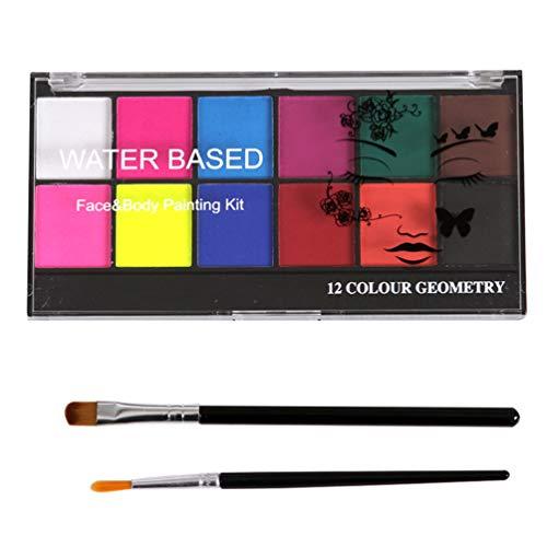 Lurrose Kit de Peinture pour Le Visage pour Enfants Et Adultes 12 Couleur 2 Pinceau de Peinture Palette de Peinture pour Le Visage Kit de Maquillage Halloween Kit de Peinture pour Le