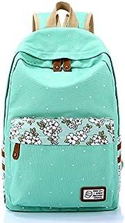 حقيبة ظهر ويف بوينت للنساء من القماش بلون اخضر فاتح حقيبة مدرسية مضادة للماء ومناسبة للسفر XDBB1