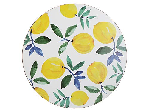 Creative Tops Cork-Backed Placemats / Table Mats with Printed 'Lemons' Design, White, 29 cm, Set of 4