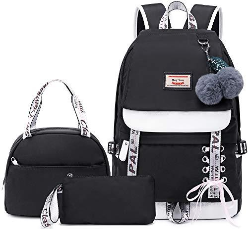 Hey Yoo School Backpack Set for Girls Backpack School Bag Bookbag for Teen Girl Women Laptop Backpack with Lunch Bag 3 in 1 (Black)