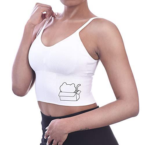 Lawmoliw Sujetador deportivo para mujer, inalámbrico, multifuncional, camiseta sin mangas, espalda cruzada. - blanco - Talla Única