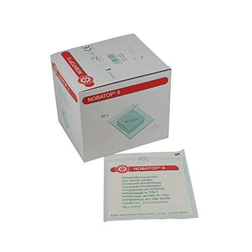 NOBATOP®-steril 8, Vliesstoffkompressen, Wundauflagen, 10x10 cm 4-lagig, 60x2St
