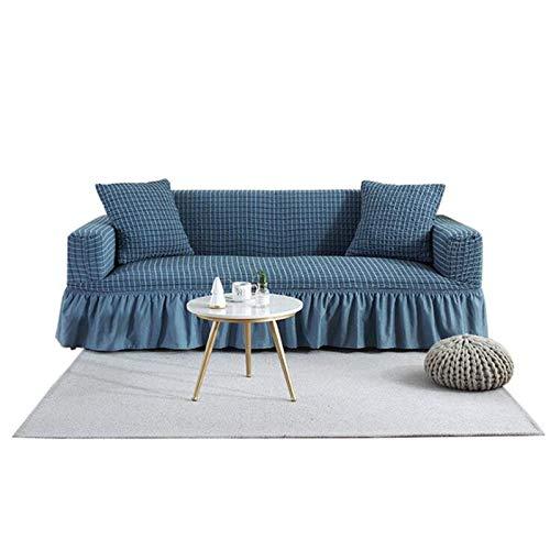 abodos Sofa-Cover, All-Inclusive-Universalabdeckung, Elastisches Leder-Sofa-Kissen, rutschfeste, All-Saison-Allzweck-Staubdichter Möbelabdeckung,Blau,Three seat