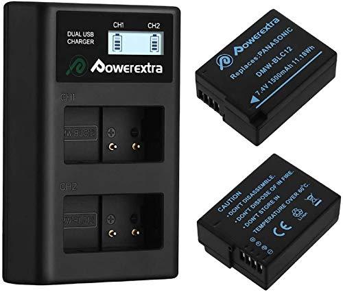 Powerextra 2 x Batteria di Ricambio Panasonic DMW-BLC12 1500mAh e 1x Doppio Caricatore per Panasonic Lumix DMC-FZ200 DMC-FZ1000 DMC-FZ2000 2500 DMC-G5 DMC-G6 DMC-G7 DMC-GX8 DMC-G85