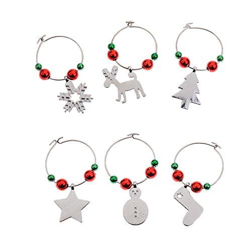 Pack of 6pcs Weihnachts Thema Glasmarker Ring Weinglasmarkierer Charm Anhänger Weihnachtendekoration