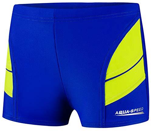 Aqua Speed Kurze Badehose Jungen + gratis eBook | UV Kinderbadehose | Schwimmhose Jungs | Trainings Schwimmbekleidung 28. Blau Grün Gr. 116 | Andy