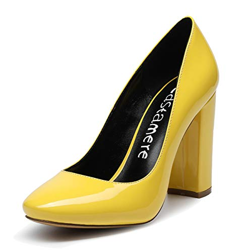 CASTAMERE Damen Blockabsatz Klassisch Runde Zehe Pumps Fashion Trendige Basic Schuhe Hochzeit Abiball Büro High Heels 10CM Lackleder Gelb Pump EU 42