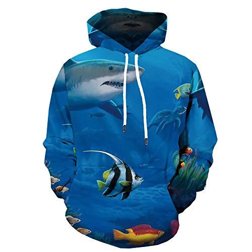 BAGFP Sudadera con Capucha De Pescado con Estampado Digital En 3D Suéter con Capucha para Hombres Y Mujeres El Mismo Párrafo Sudadera con Capucha Cool Ocean 3D S-4Xl