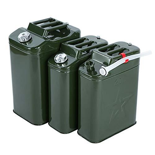 Ouumeis Tanica qualità Jerry in Metallo Verde, coperchio del secchio in lamiera alluminio Contenitore bombole combinata economico gallone Serbatoio carburante+ beccuccio Senza perdite,20L