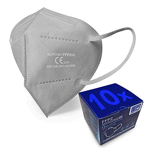 ENERGY FUSION Mascarilla FFP2 Color Gris Ultra Proteccion, Homologada, Certificación CE 0370 (10-unidades)