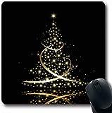 Luancrop Mousepads Ribbon Tree Neujahrsfeiertage Weihnachten Standing Gold Star Eve Night Design Reflex rutschfeste Gaming Mouse Pad Gummi-Matte