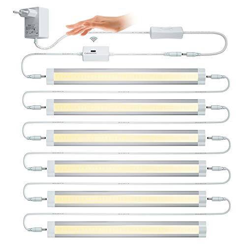LAMPAOUS Lampe mit Erkennung, 4 W 3000 K warmweiß, Schrankbeleuchtung, Küchenbeleuchtung, stufenlose Helligkeitsregelung. Schrankbeleuchtung, Vitrinenleuchte, 6 Stück