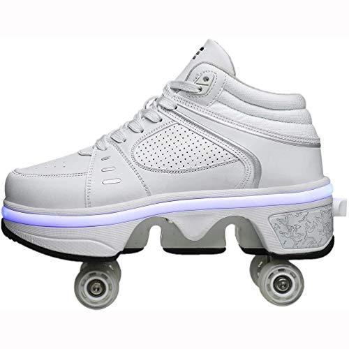 VIIPOOZapatillas Con Ruedas Zapatillas Skate Zapatillas Parkour Deformación Zapatillas Con Ruedas Recargables USB Zapatillas Con Ruedas LED De Moda, Para Regalo Unisex Para Principiantes,White-35