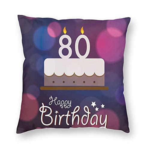 Fundas de cojín decorativas, diseño abstracto con pastel de fiesta de cumpleaños y velas, funda de almohada para sofá hogar, dormitorio, 40,6 x 40,6 cm
