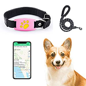 Pet GPS Tracker Device WaterproofReal Time Tracking Collar Device APP Control for Dog and Cat Activity Monitor Mini Locator USB Charging Help Find and Keep Safe (Pink)