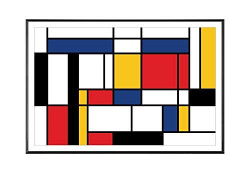 BaikalGallery Mondrian Cuadro Enmarcado (P2452) -Moldura de Aluminio Mate Color Negro - Montaje en Panel Adhesivo (Foam)- Laminado en Mate (Sin Cristal) (40x60cm)
