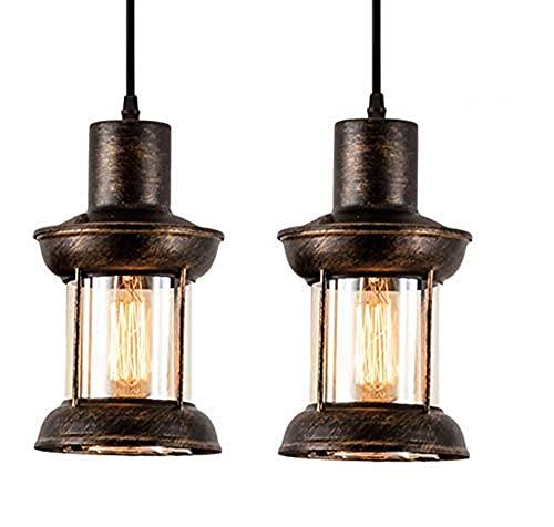 Lámpara colgante industrial vintage de techo colgante Retro, comedor lámpara infantil altura ajustable, material: acero, vidrio, color: bronce, enchufe: E27*2, diámetro 5,5 pulgadas