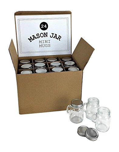 Mini Mason Jar 4 Ounce Mugs - Set of 24 Glasses With Handles And Leak-Proof Lids - Great For Gifts, Drinks, Favors, Candles And Crafts