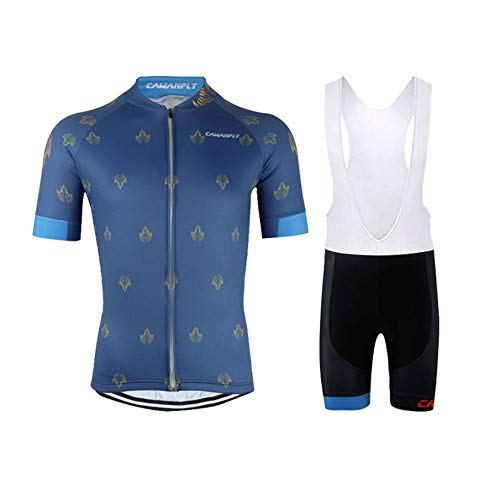 OHGGB Summer Full Zipper Short Sleeve Cycling Jersey Set with 9D Gel Padded Bib Shorts for All Levels of MTB Cyclist from Beginner to Pro,A,M