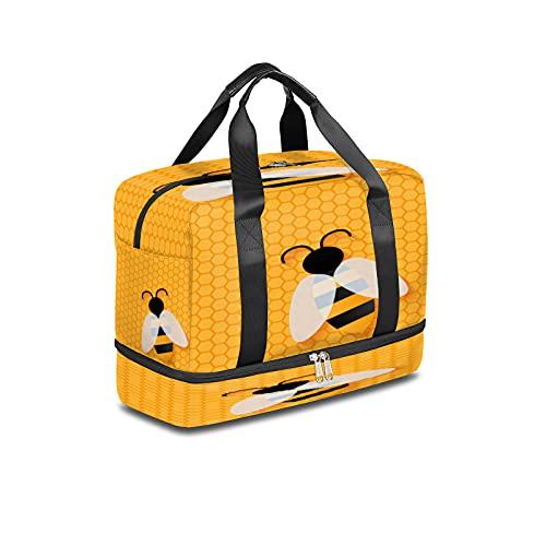 BOLOL - Borsone da viaggio con animali e ape, per sport, palestra, con motivo geometrico