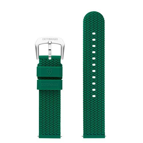 DETOMASO Uhrenarmband Silikon-Armband 20mm 22mm 24mm mit Schnellwechsel Federsteg und Dornschließe (22mm, grün - Silberne Schließe)