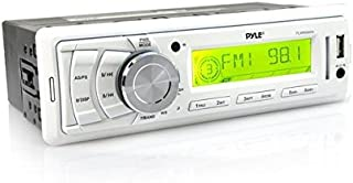 Pyle PLMR89WW Marine Stereo Radio Headunit Receiver, Aux (3.5mm) MP3 Input, USB Flash & SD Card Readers, Remote Control, Single DIN (White)