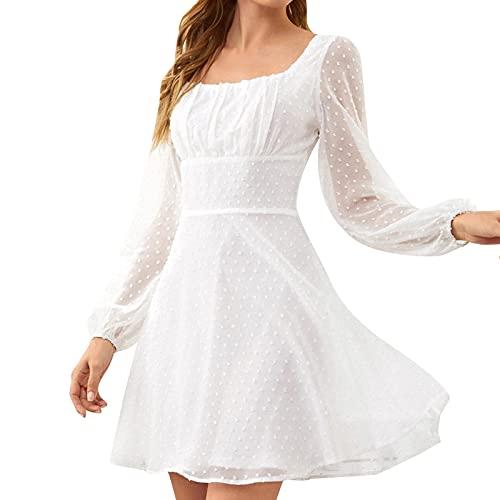 Rioge Damen Kleider Elegant Casual Quadratischer Kragen Kleid Damen Kurz Mode Party Cocktail Minikleid Sexy Einfarbig Slim Langarm Kleid