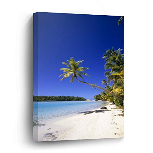 Palm Lined Beach Cook Islands Canvas Picture Painting Artwork Wall Art Poto Framed Canvas Prints for Bedroom Living Room Home Decoration, Ready to Hanging 8'x12'