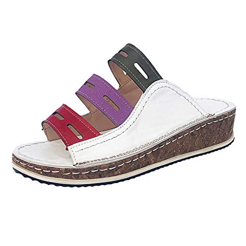 WWricotta Women\'s Ladies Fashion Mixed Color Slip On Wedges Sandals Casual Slipper Shoes(Weiß,36)
