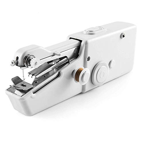 Handheld Sewing Machine, Portable Mini Sewing Machine for Beginners, Quick Simple Repairing Cordless Sewing Machine Suitable for Fabric, Kids Cloth, Home Use and Carry Out (White)