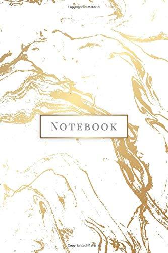 Notebook: Quaderno per appunti 108 pagine a righe 6x9 || Soft Cover || Marmo Bianco & Oro
