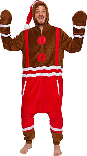 Men's Gingerbread Costume Pajamas - One Piece Christmas Plush Unisex Novelty Holiday Jumpsuit - Silver Lilly (Brown, Medium)