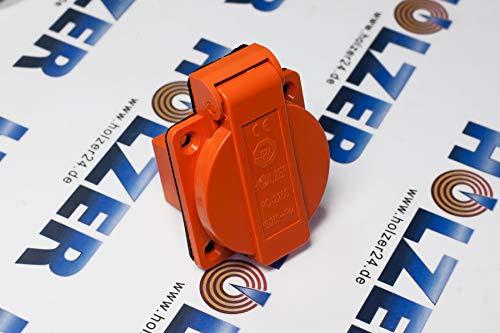 HOLZER 8 Stück/Einbausteckdose Schuko Anbau Steckdose 16A Feuchtraum / PA6 / + Flansch Dichtung (Orange)
