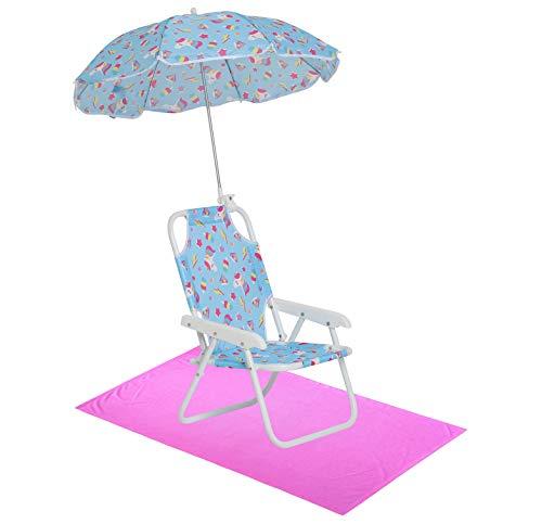 Girls' Unicorn Swim Essentials - Girls Beach Chair with Umbrella and Towel OS