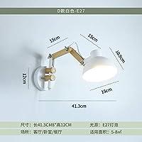 壁取り付け用燭台ライトノルディックベッドサイドランプクリエイティブモダンミニマリストリビングルームベッドルームソリッドウッドアート折りたたみ式伸縮ロッキングロングアームウォールランプ、Cセクション-グレー-3W LED暖かい光を送る