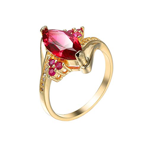 KnBob Women Girls Vintage Ring Marquise Shape Rose Red Cubic Zirconia Ring Gold Plated Size T 1/2