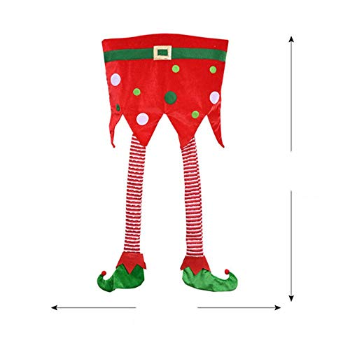 LLAAIT Xmas Christmas Cartoon Chair Back Cover Santa Claus Dining Seat Dinner Decor for Banquet Home New Year Party Supplies